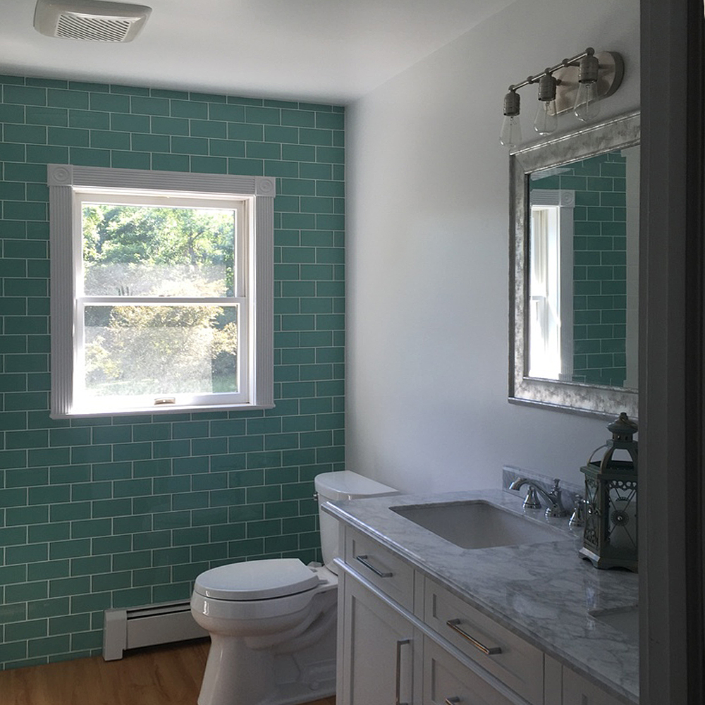 Sage Green Glass Subway Tile Bathroom Feature Wall