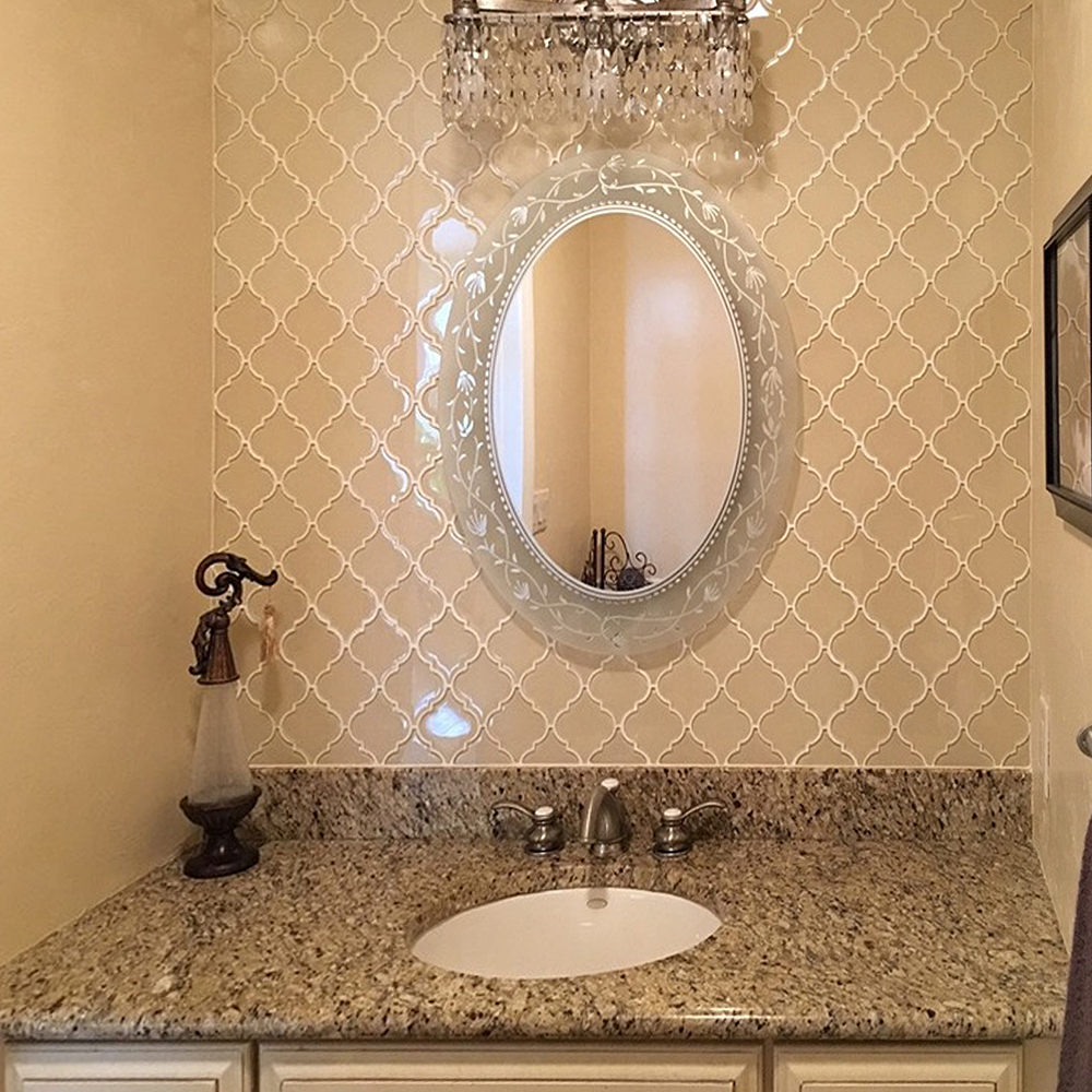 Cream Arabesque Glass Tile Bathroom Vanity Backsplash