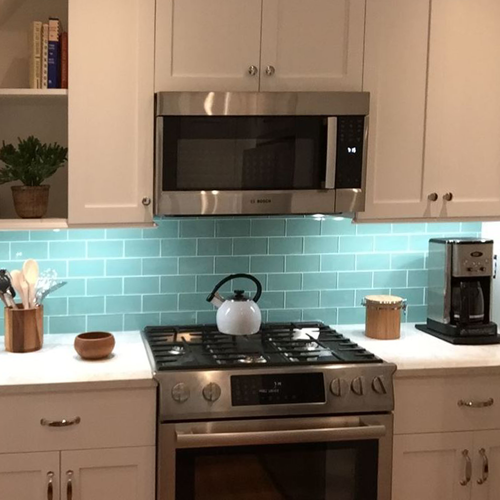 Sage Green Kitchen Tile Backsplash