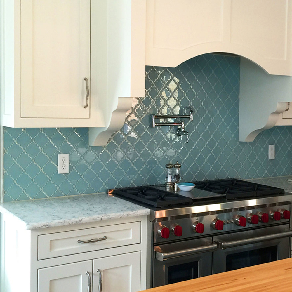 Vapor Arabesque Glass Tile Kitchen Backsplash