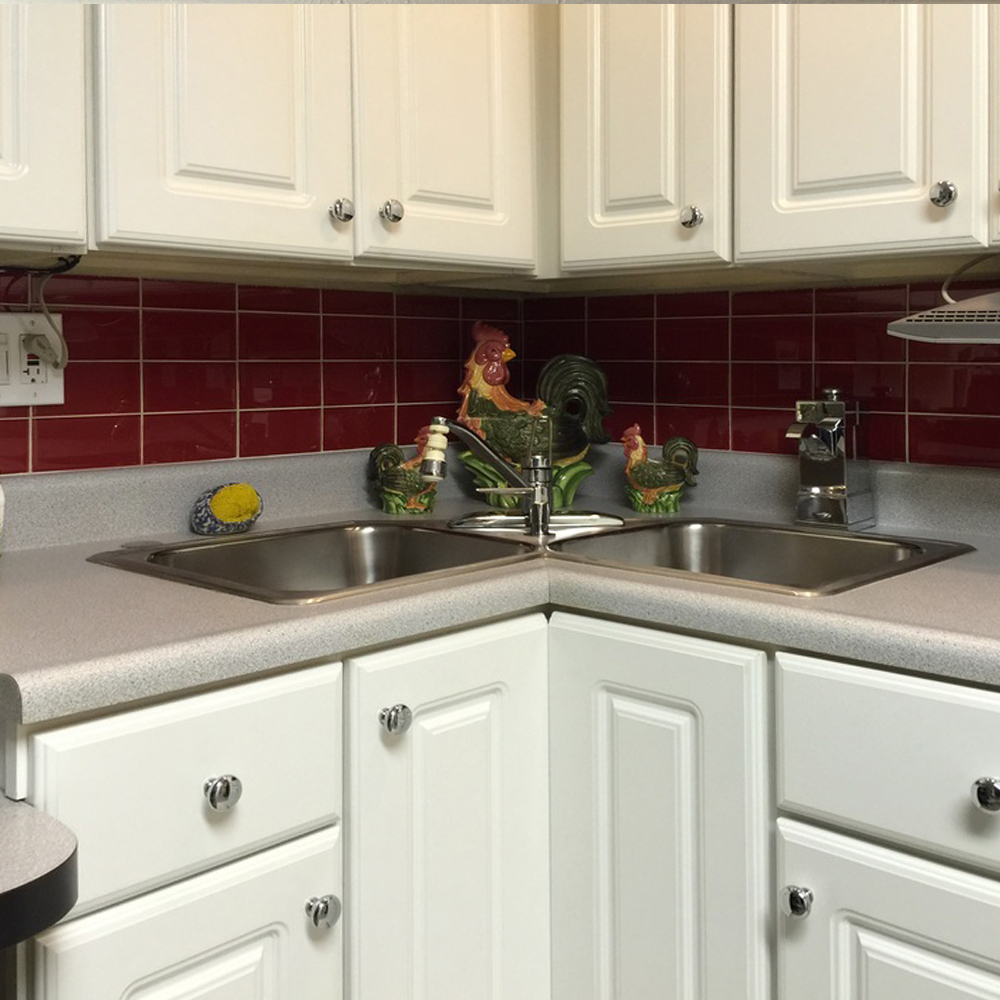 Red Glass Subway Tile Kitchen Backsplash