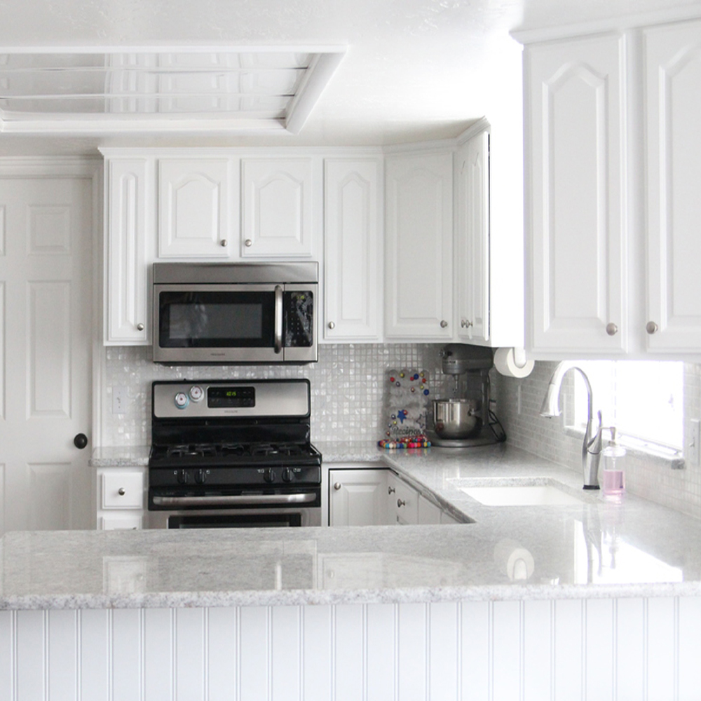 White Square Mother of Pearl Kitchen Backsplash