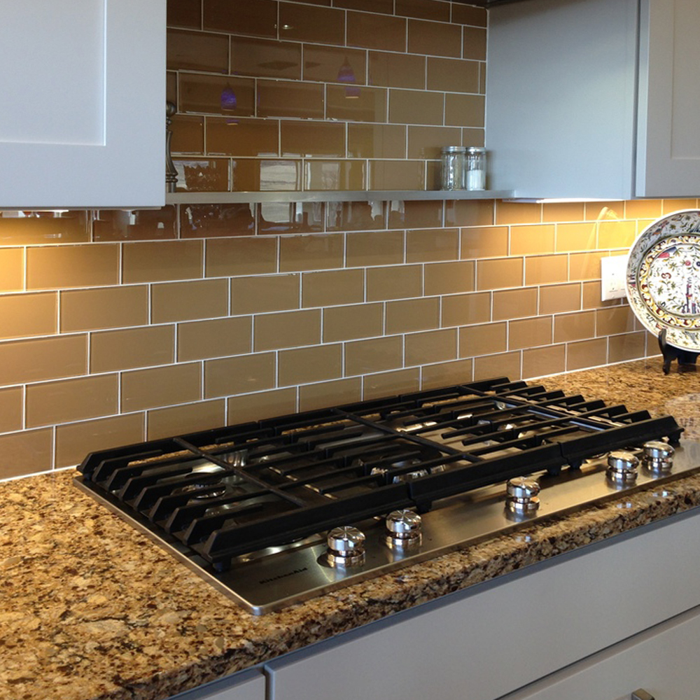 Sahara Glass Subway Tile Kitchen Backsplash