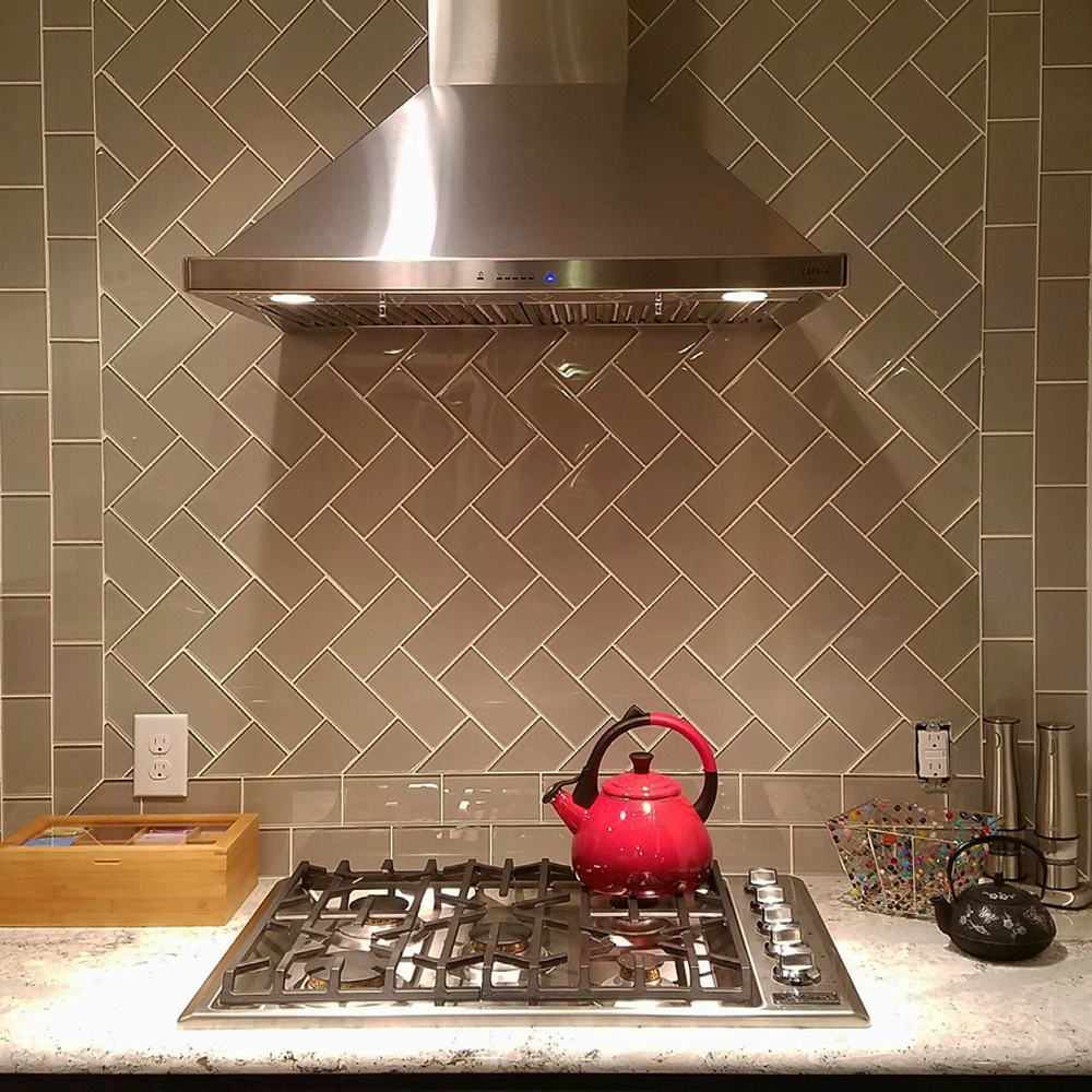 Taupe Glass Subway Tile Kitchen Backsplash