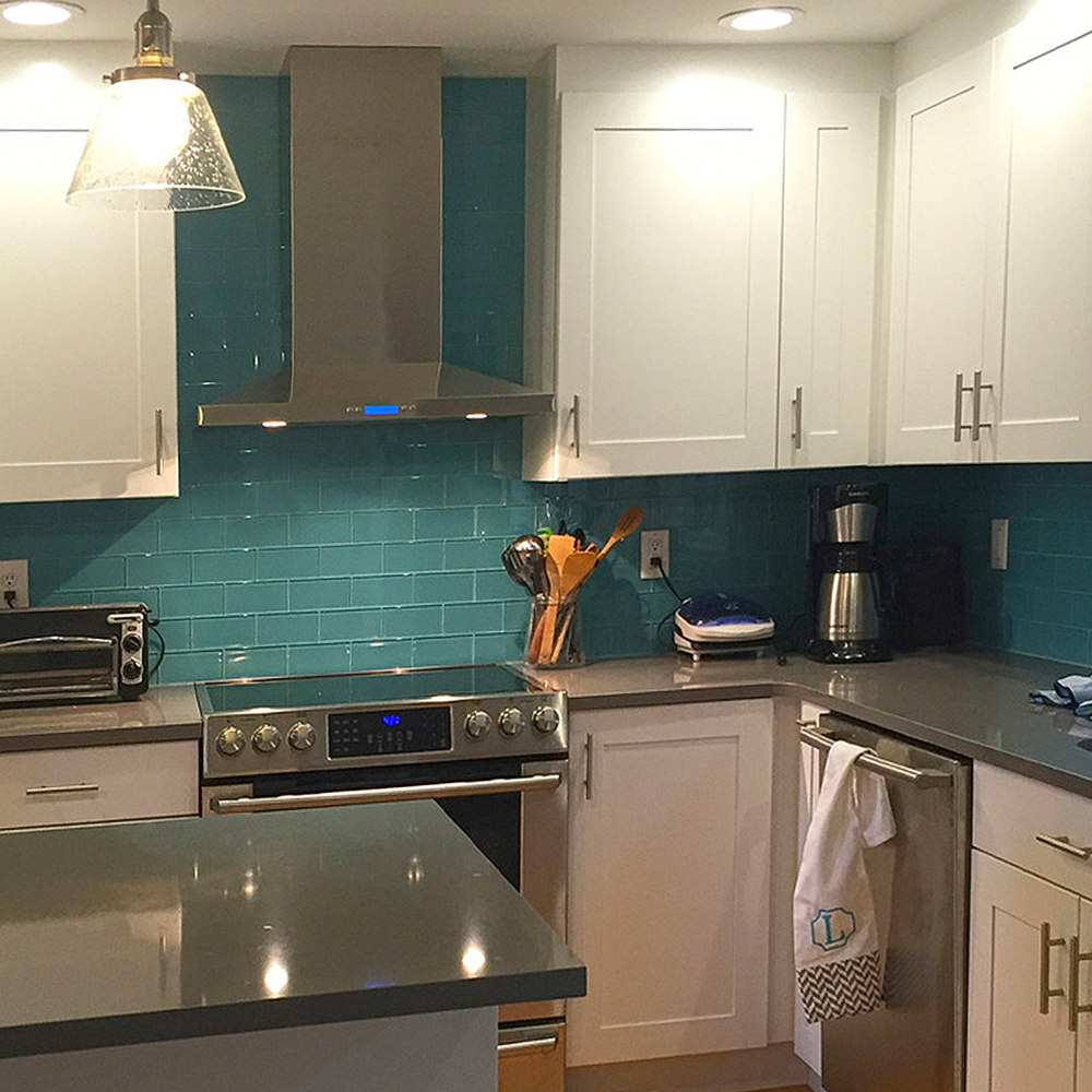 Aqua Glass Subway Tile Kitchen Backsplash