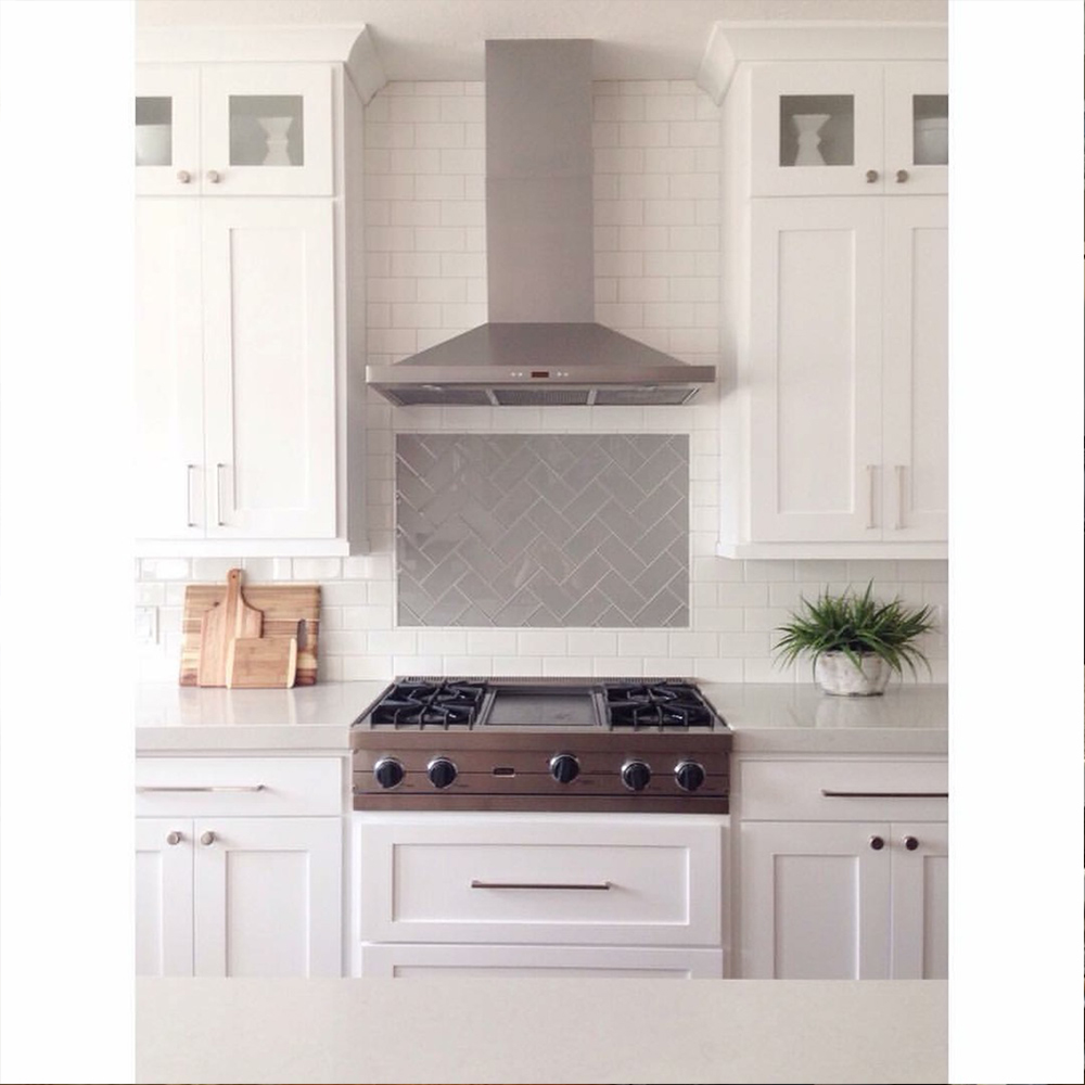 Smoke Glass Subway Tile Backsplash Accent