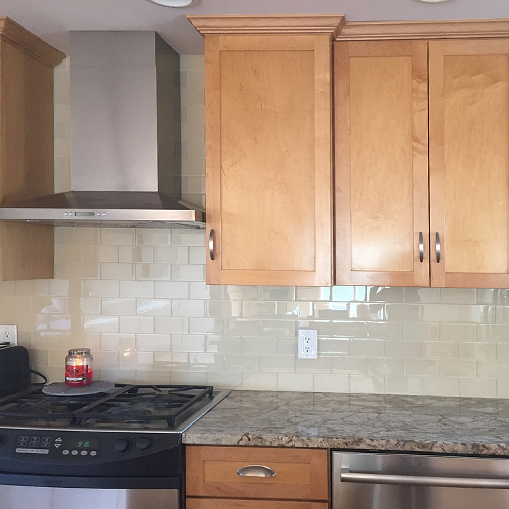 Cream Glass Subway Tile Kitchen Backsplash Remodel