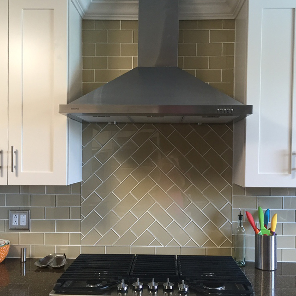 Khaki Glass Subway Tile Kitchen Backsplash with custom Accent