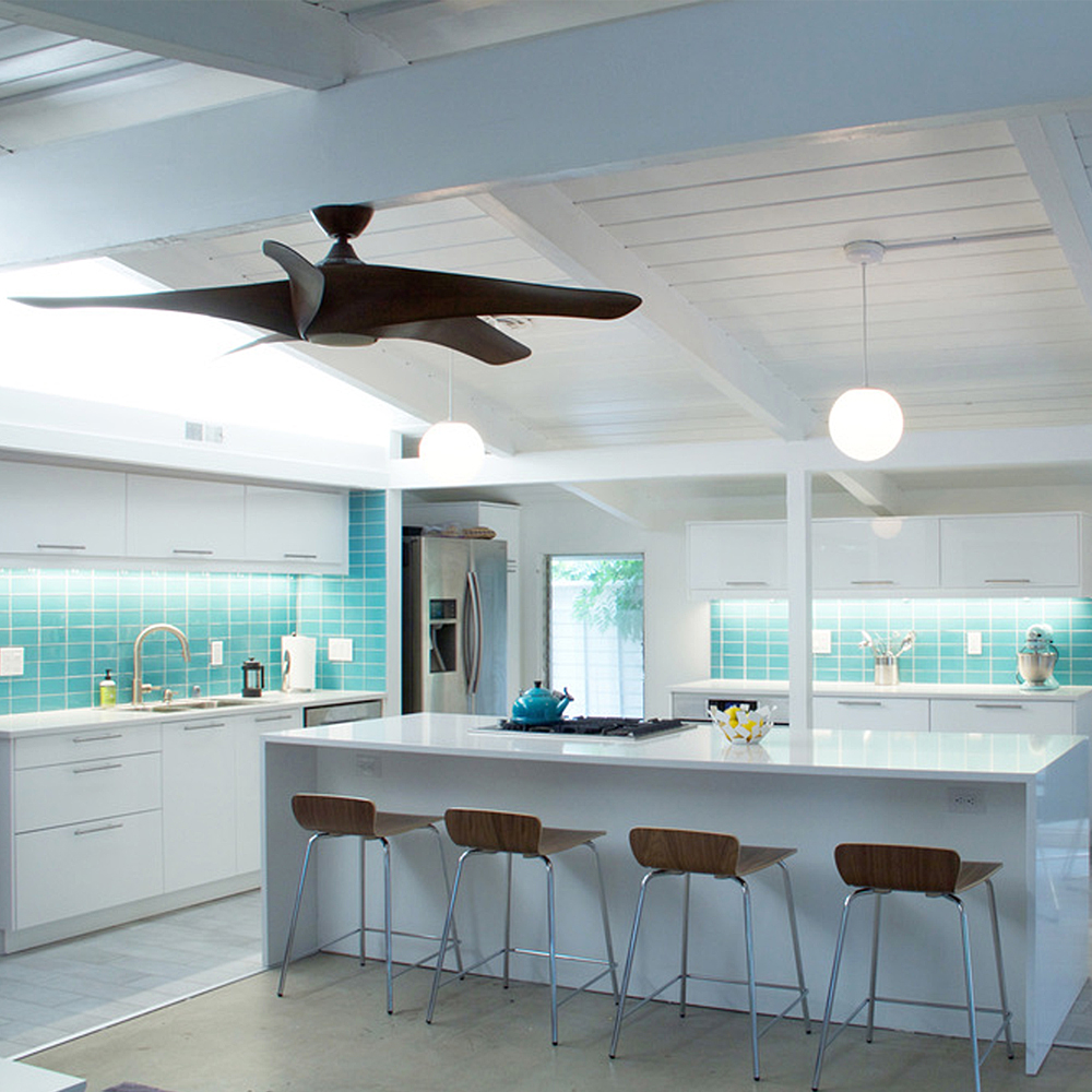 Aqua Glass Subway Tile Modern Kitchen Backsplash with Underlit Cabinets
