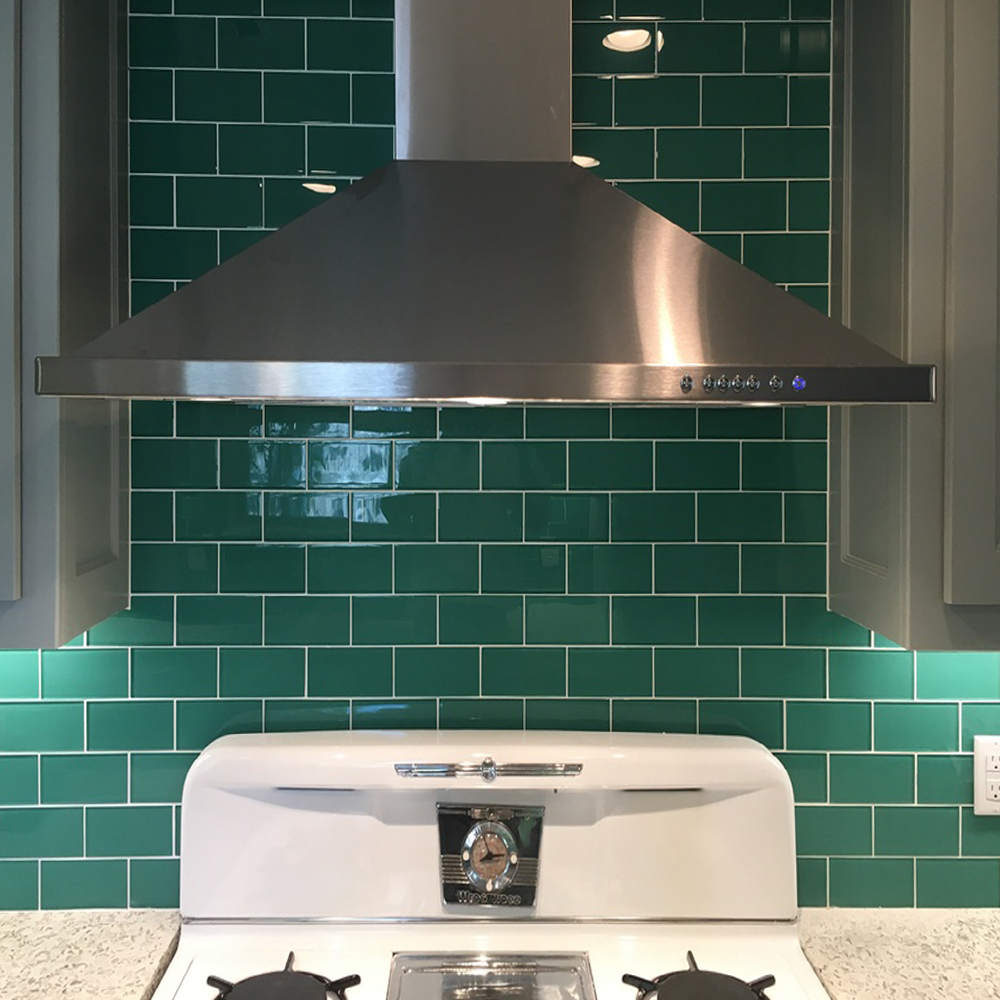 Emerald Green Subway Tile Kitchen Backsplash