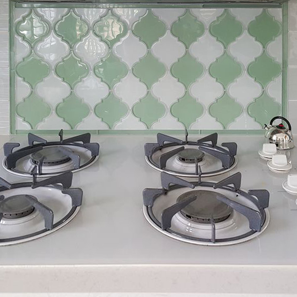 Surf Green and White Arabesque Kitchen Backsplash