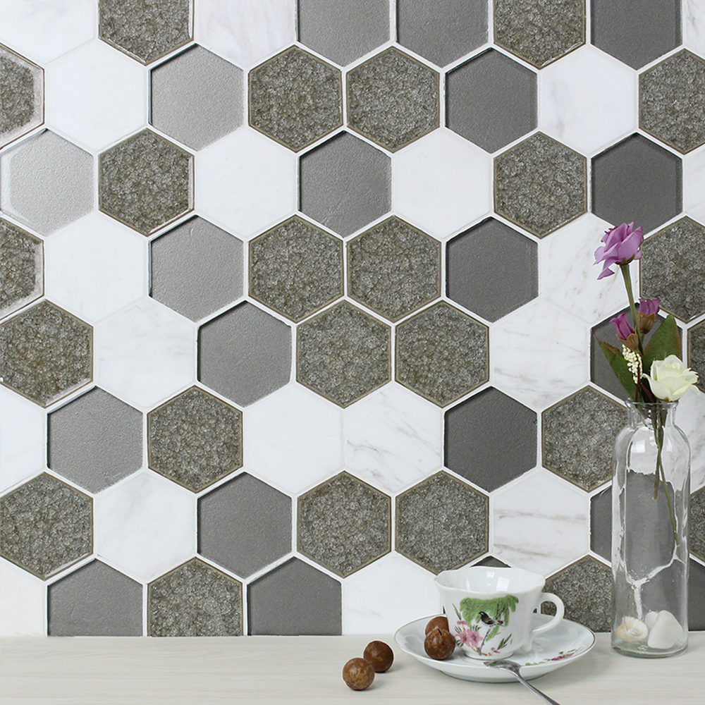 Sienna Blend Hexagon Tile Backsplash