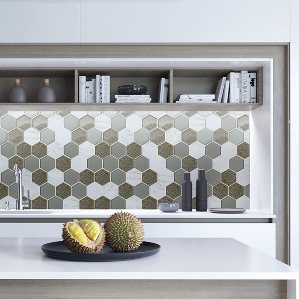 Sienna Blend Hexagon Tile Accent Wall