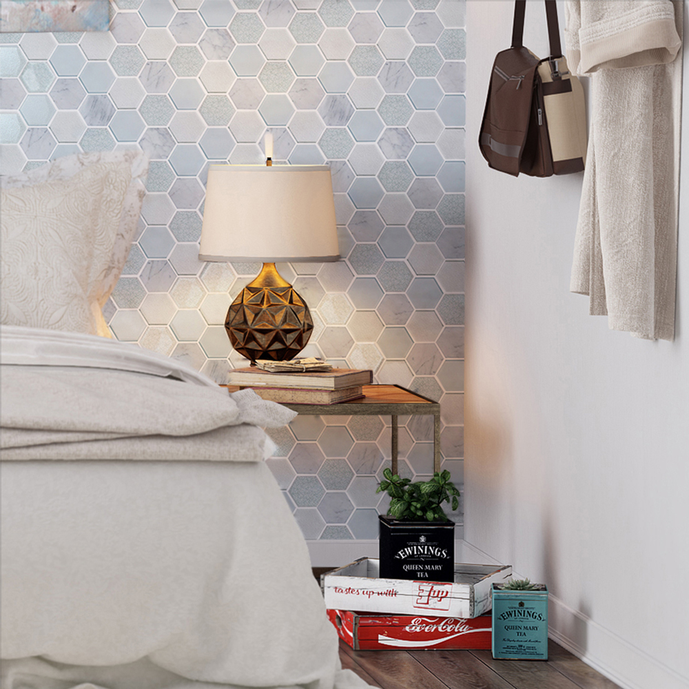 Mist Blend Hexagon Tile Bedroom Accent Wall