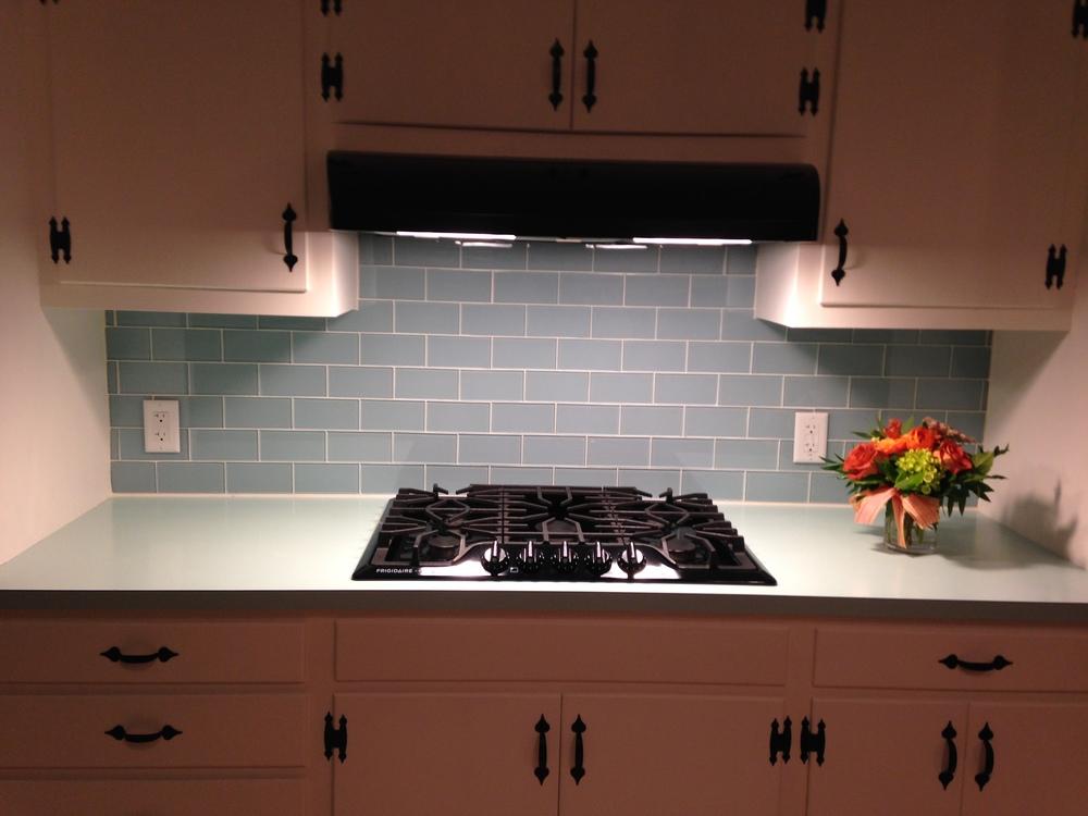 Vapor Glass Kitchen Backsplash Before & After