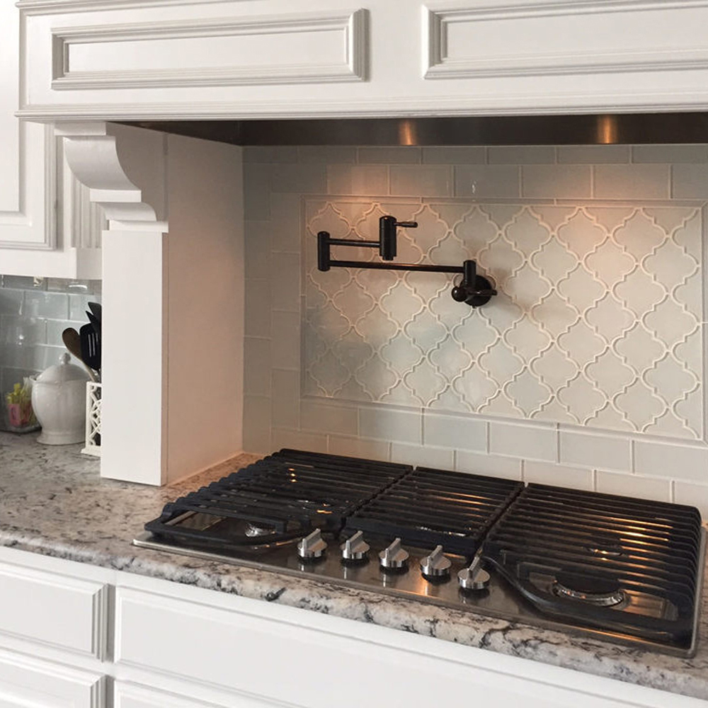 White Arabesque Glass Backsplash Feature