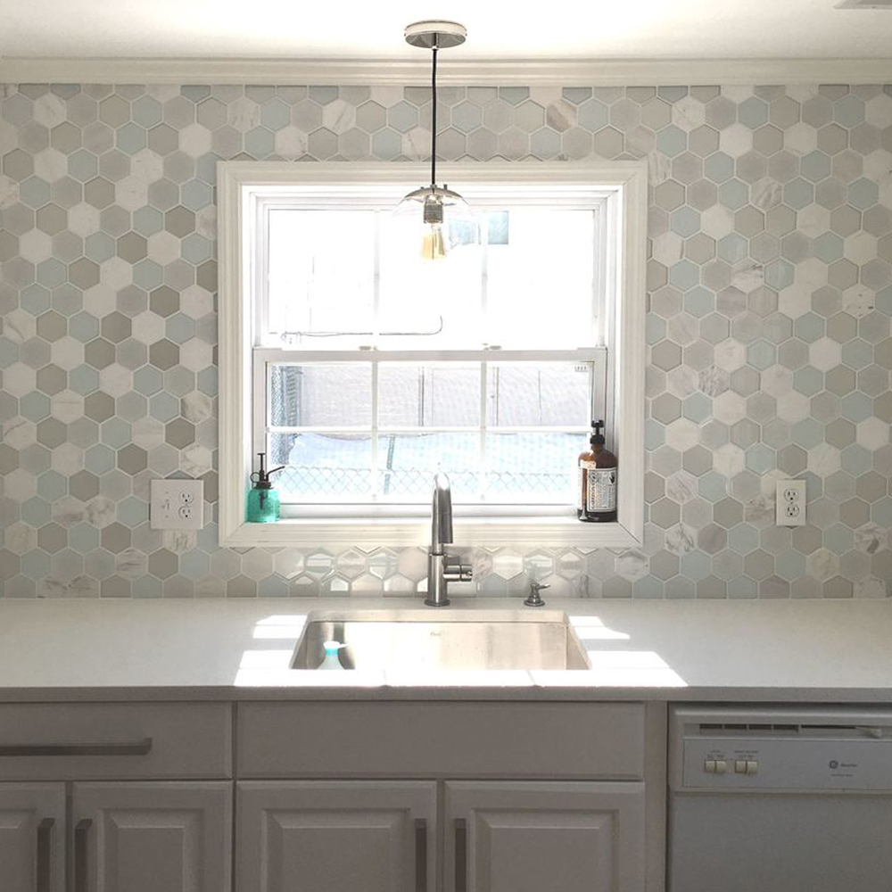 Mist Blend Hexagon Kitchen Backsplash