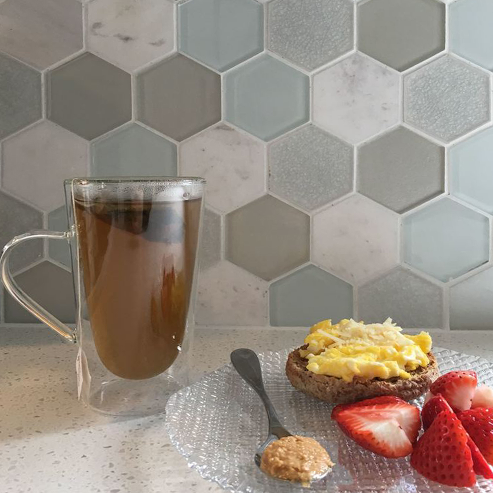 Mist Blend Hexagon Backsplash Closeup