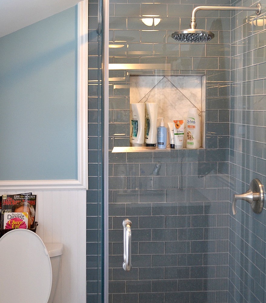 Guest Shower Remodel with Ocean Glass Subway Tile