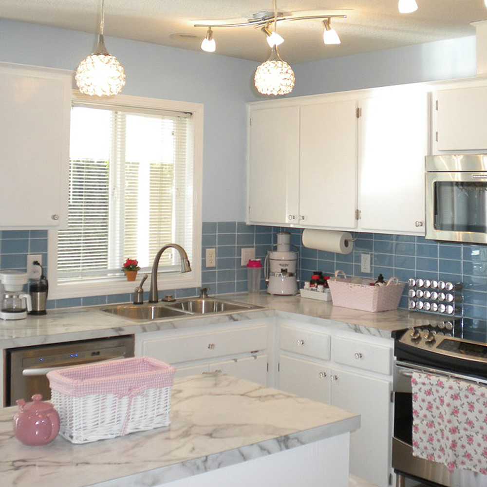 Low Cost Kitchen Updates: Kitchen Update With Sky Blue Glass Tile, White Stone