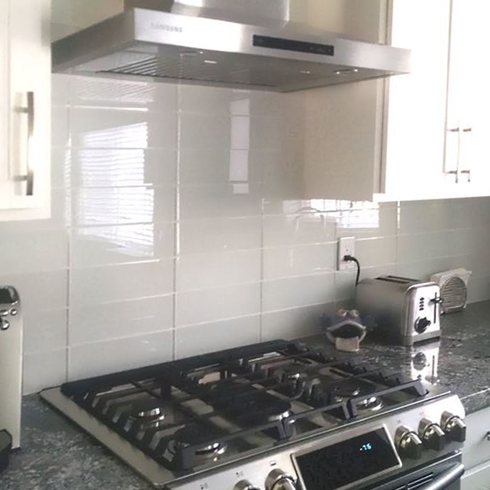White Glass 4x12 Tile Kitchen Backsplash