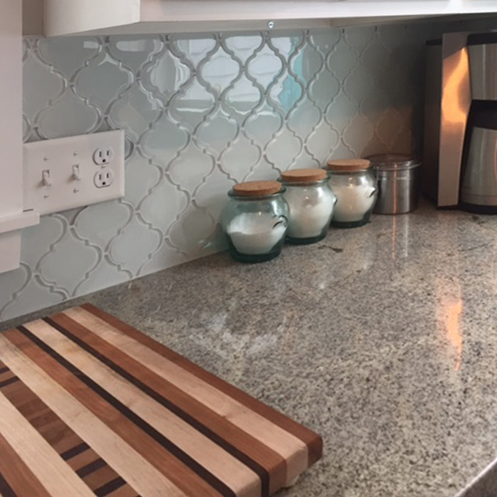 White Arabesque Lantern Tile Kitchen Backsplash