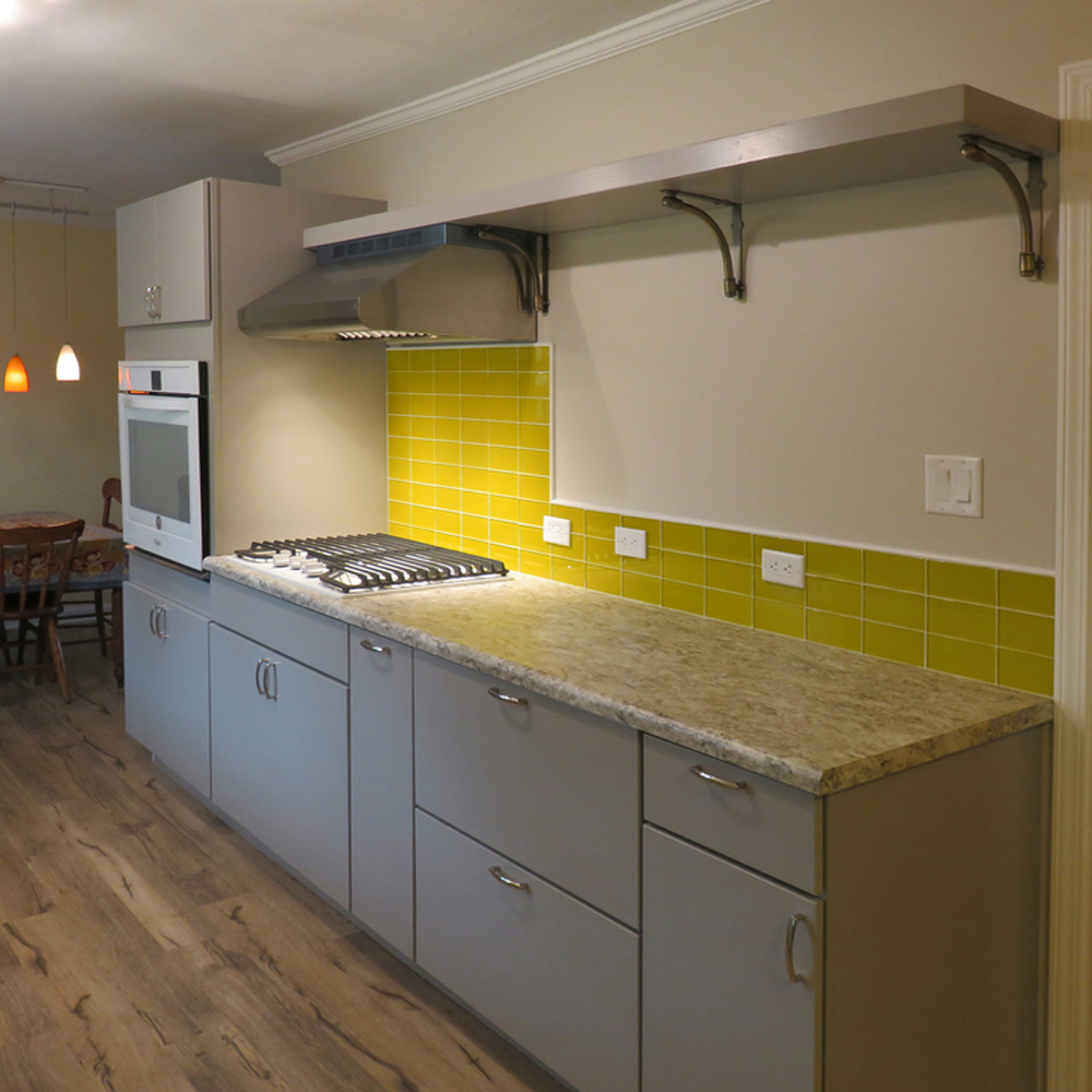 Yellow Glass Subway Tile Kitchen Backsplash with POP!