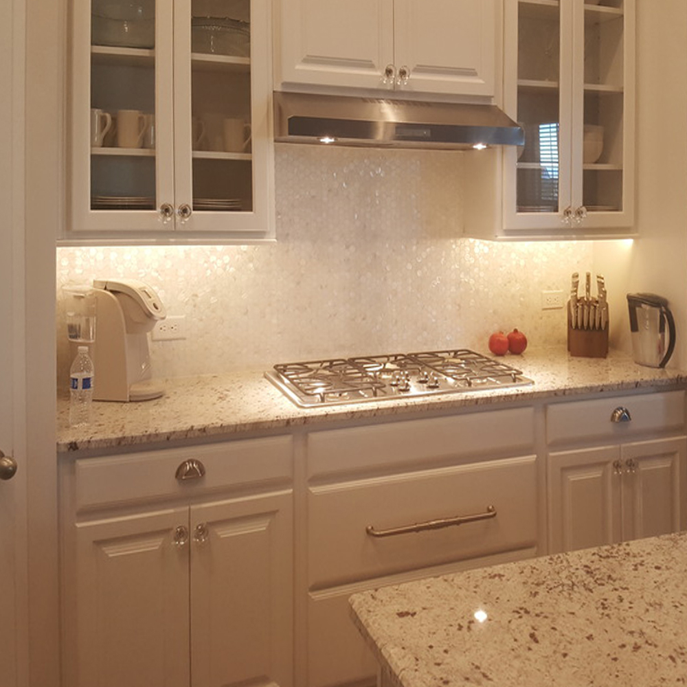 White Hexagon Pearl Kitchen Backsplash