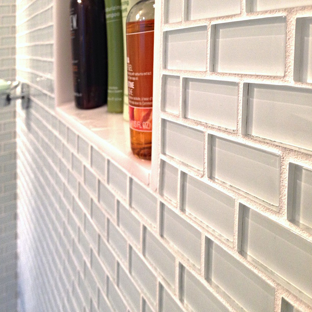 White Mini Glass Subway Tile Shower Wall