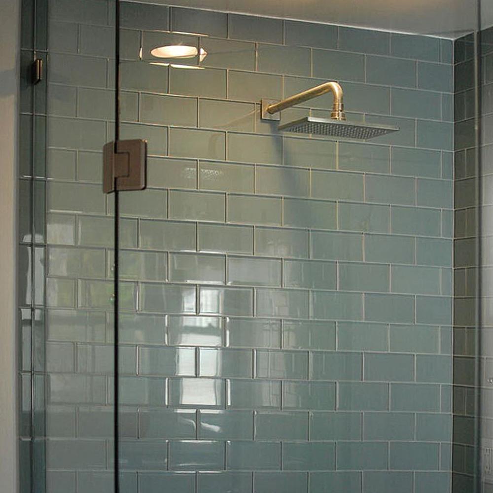 Ocean Glass Subway Tile Shower