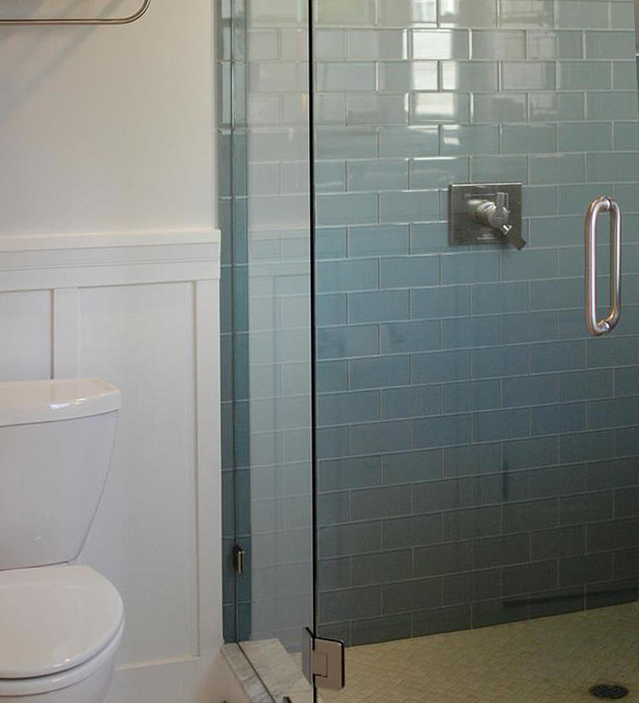 Ocean Glass Subway Tile Shower Walls