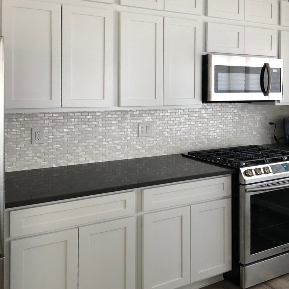 White 1x2 Pearl Subway Tile Kitchen Backsplash