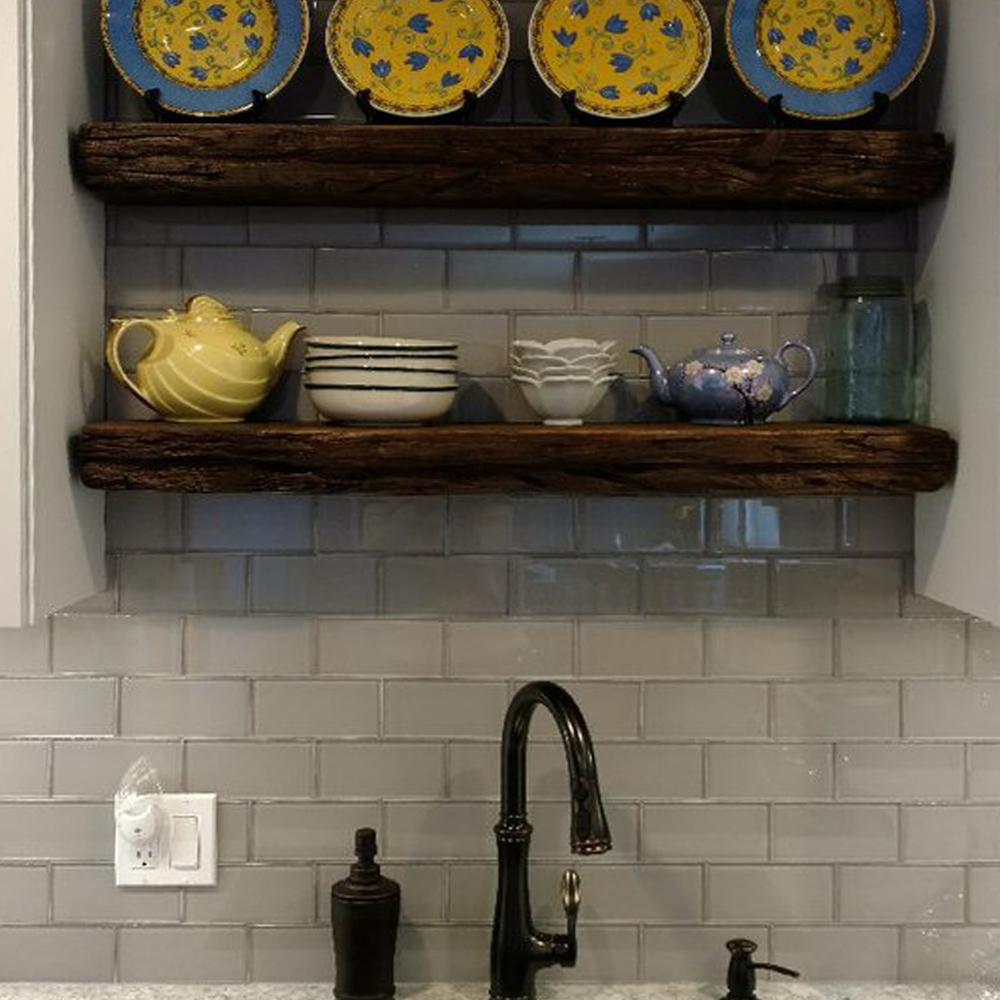 Smoke Grey Glass Subway Tile Farm Kitchen