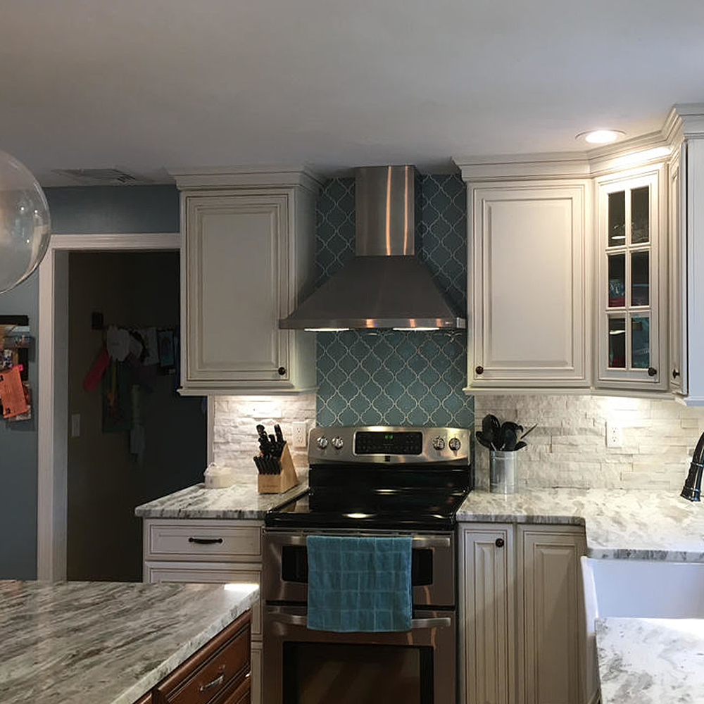 Vapor Arabesque Designer Stove Backsplash