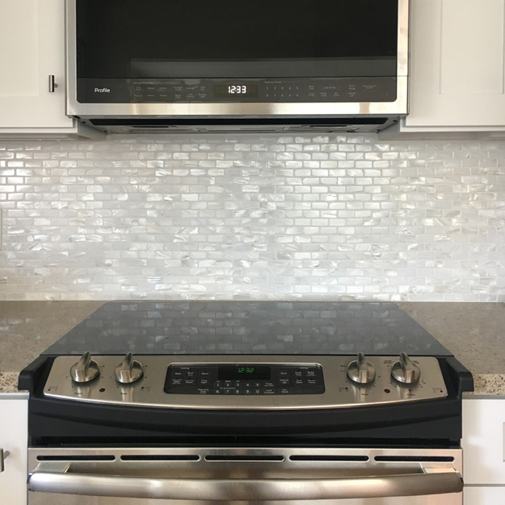 White 1x2 Mother of Pearl Shell Tile Backsplash