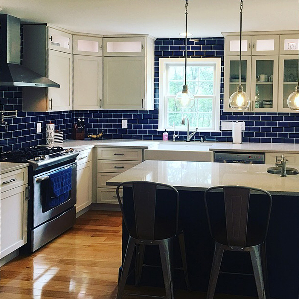 Cobalt Blue Glass Subway Tile Kitchen Renovation
