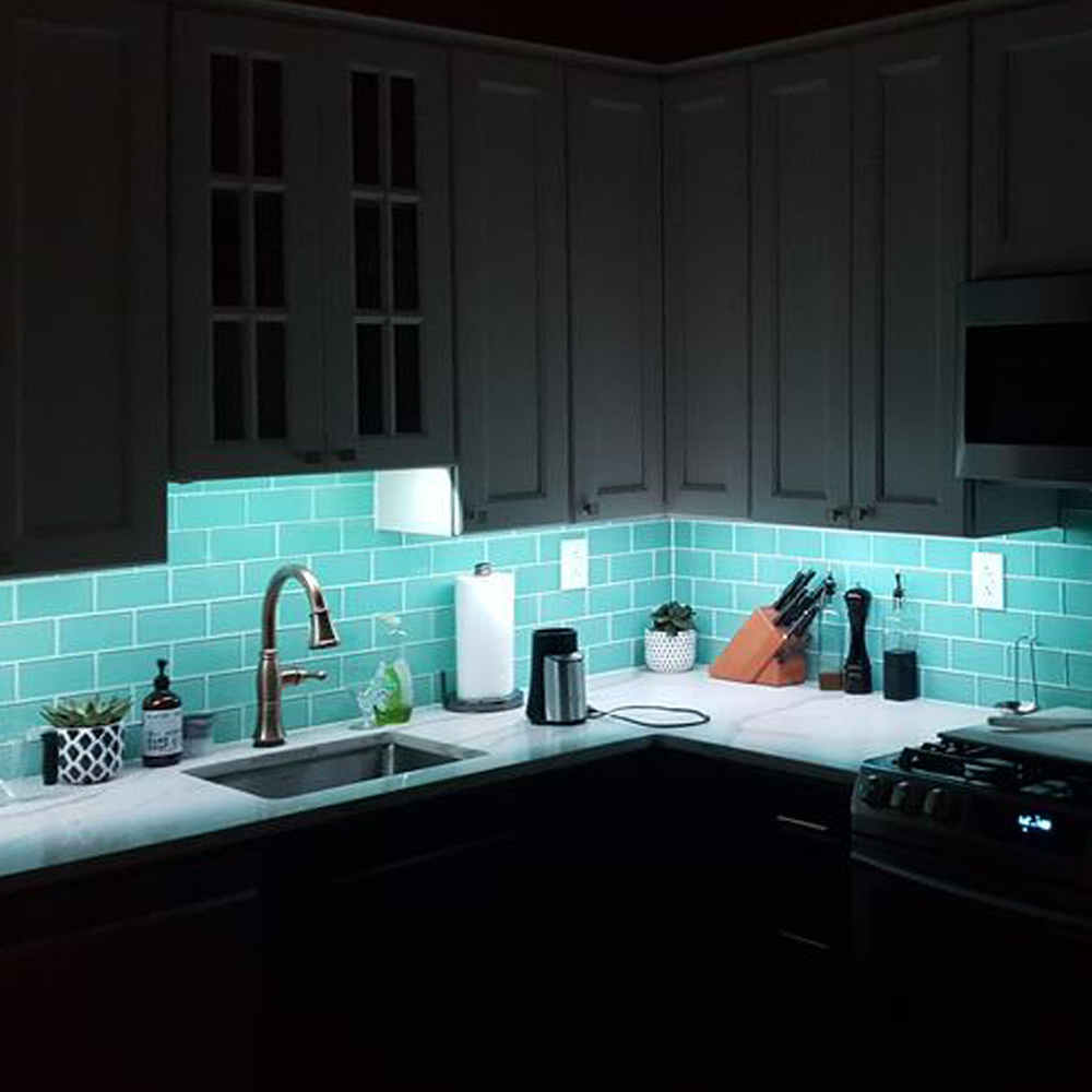 Sage Green Glass Tile Backsplash With Lighting