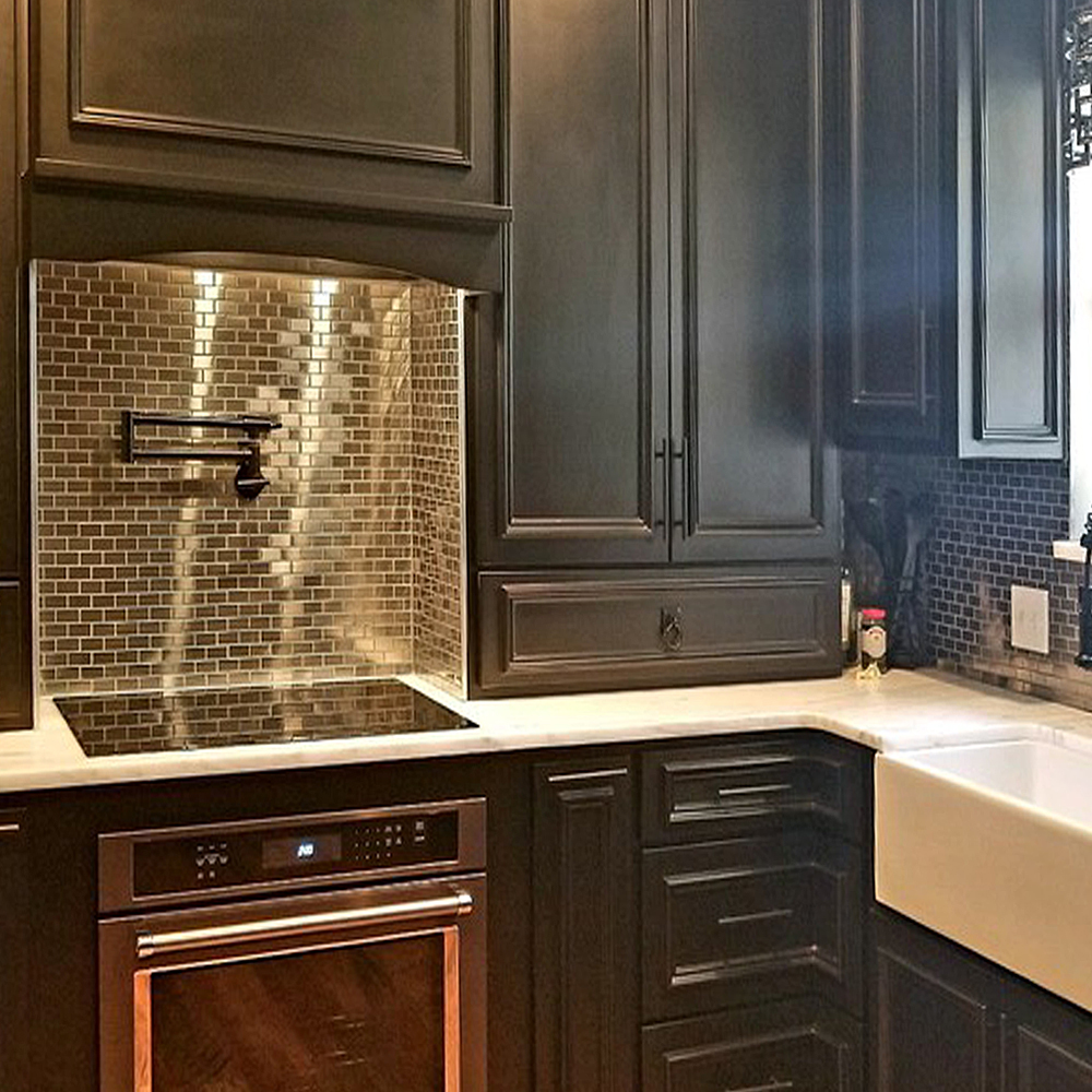 1x2 Stainless Steel Tile Kitchen Backsplash