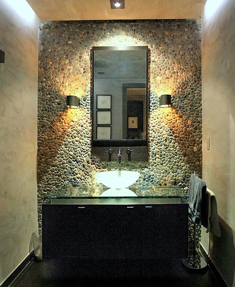Bali Ocean Pebble Tile Powder Room Wall Covering