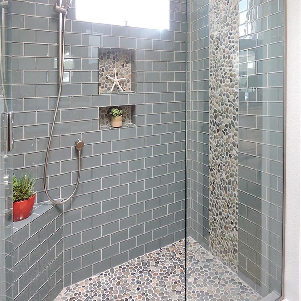 Bali Ocean Pebble Tile Shower Floor with Accents