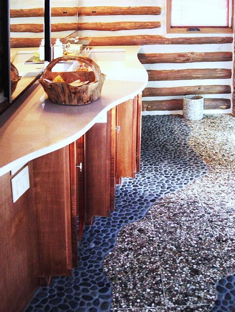 Black Pebble Tile Bathroom Flooring
