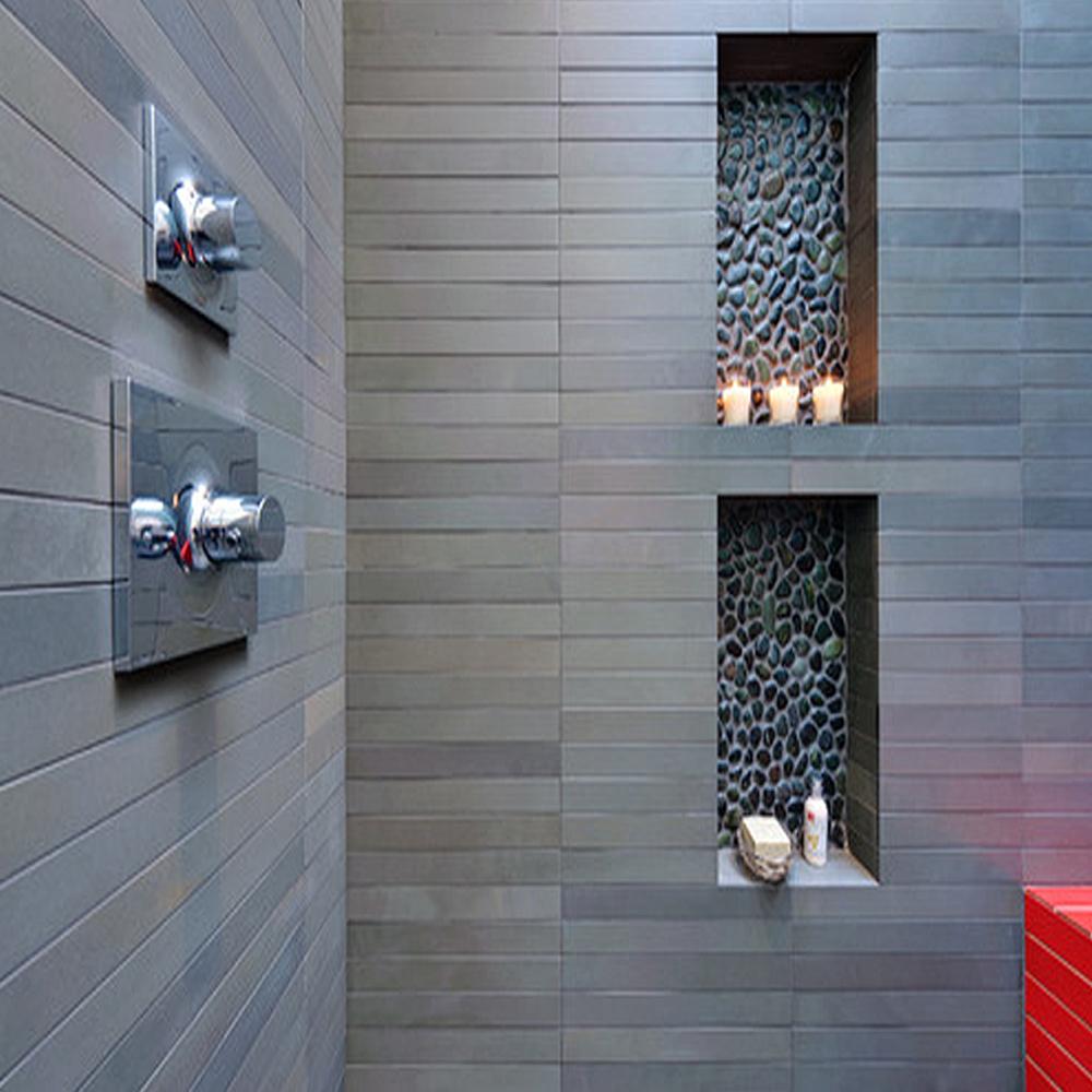 Black Pebble Tile Shower Niche Accent