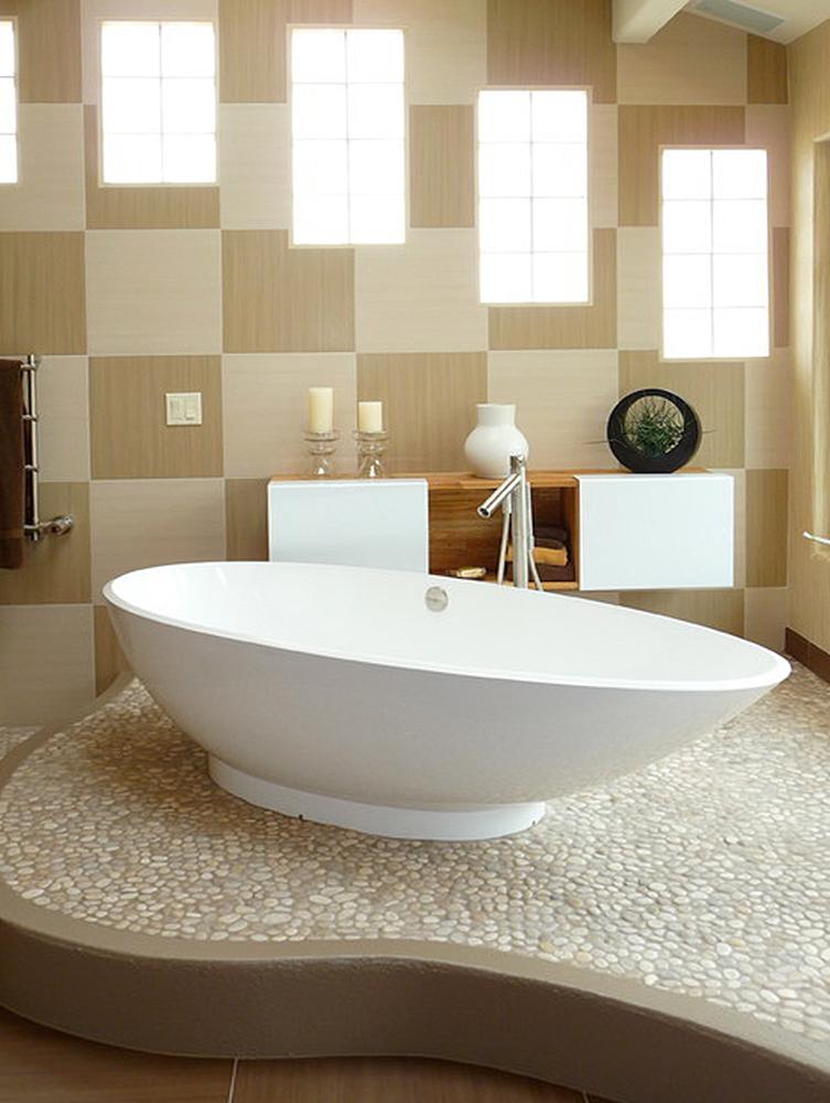 Contemporary Bathroom Tan Pebble Tile Flooring
