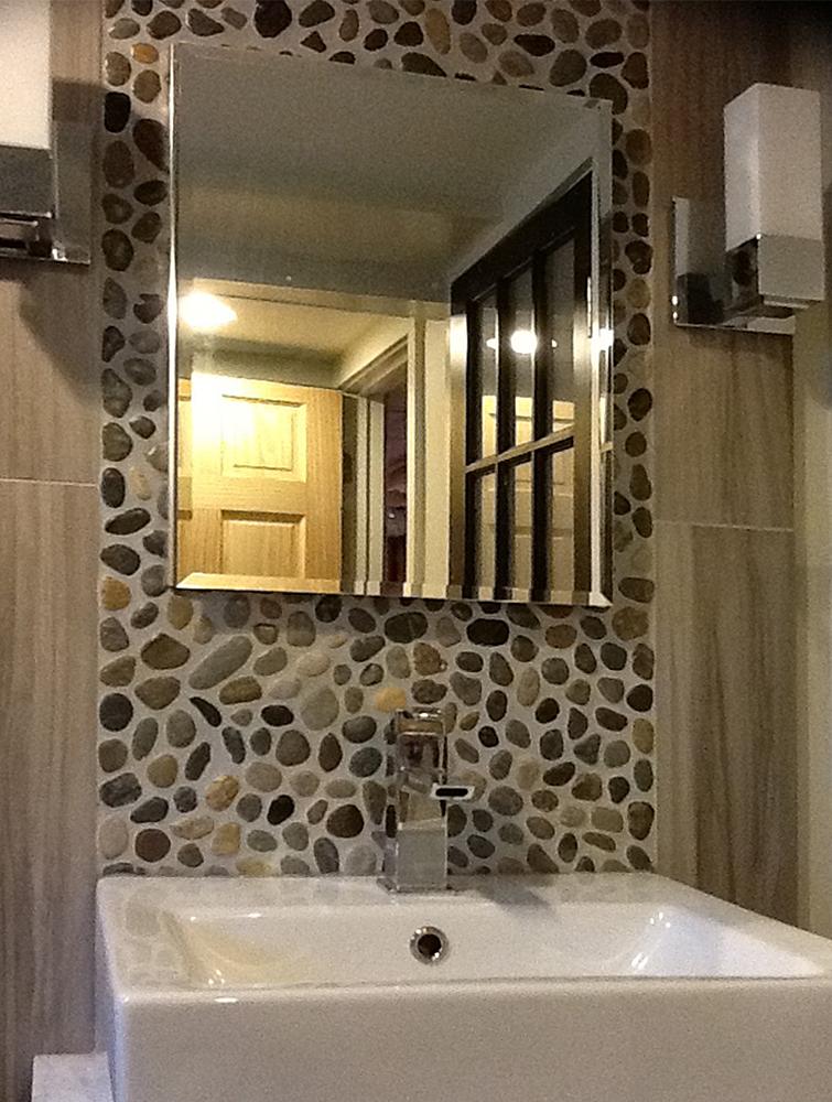Glazed Bali Ocean Pebble Tile Bathroom Vanity
