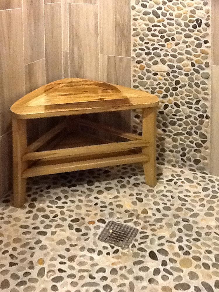 Glazed Bali Ocean Pebble Tile Shower Floor