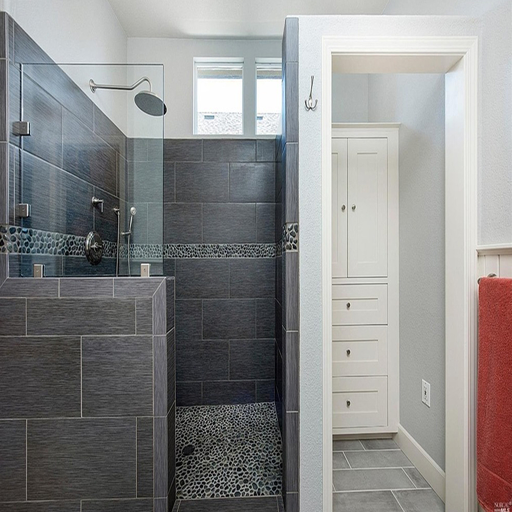 Glazed Charcoal Black Pebble Tile Shower Pan and Border