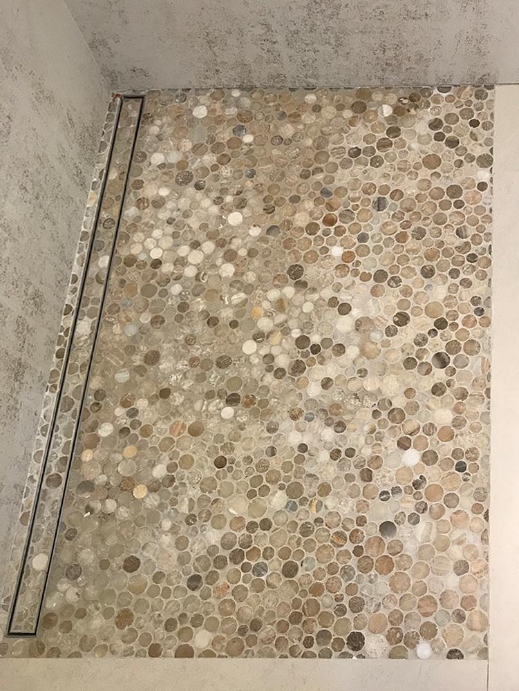 glazed mixed quartz moon mosaic morden shower floor