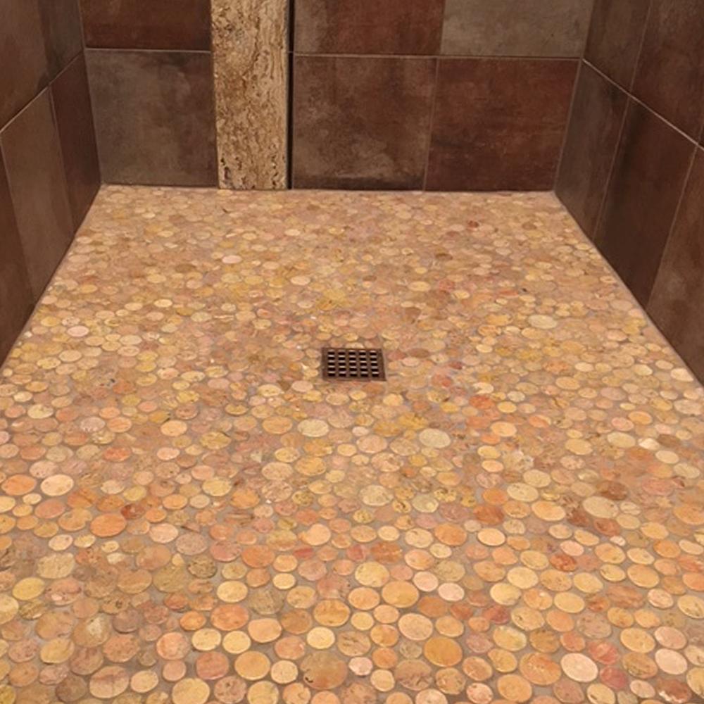 Glazed Sunset Moon Pebble Tile Shower Pan