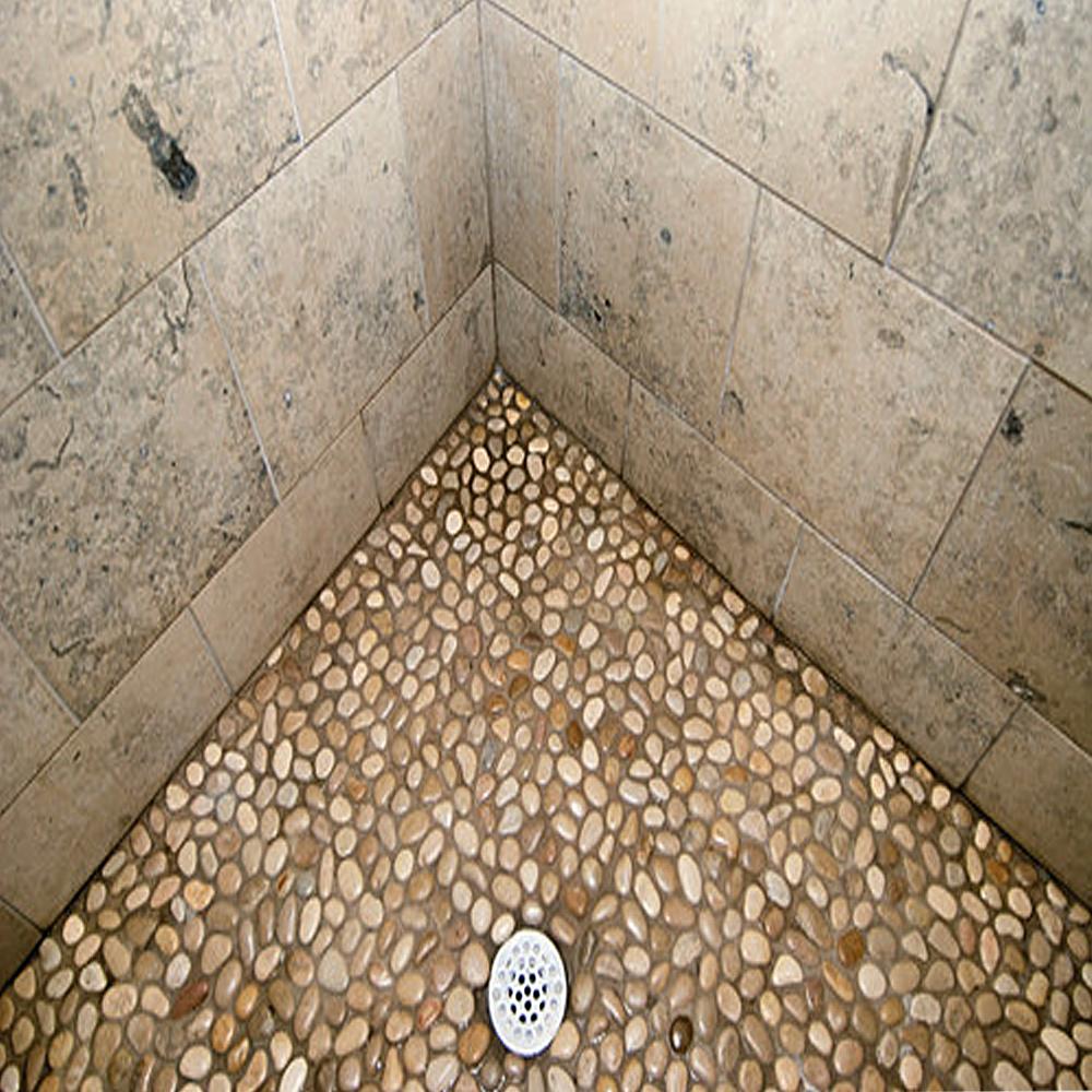 Glazed Tan Pebble Tile Shower Pan