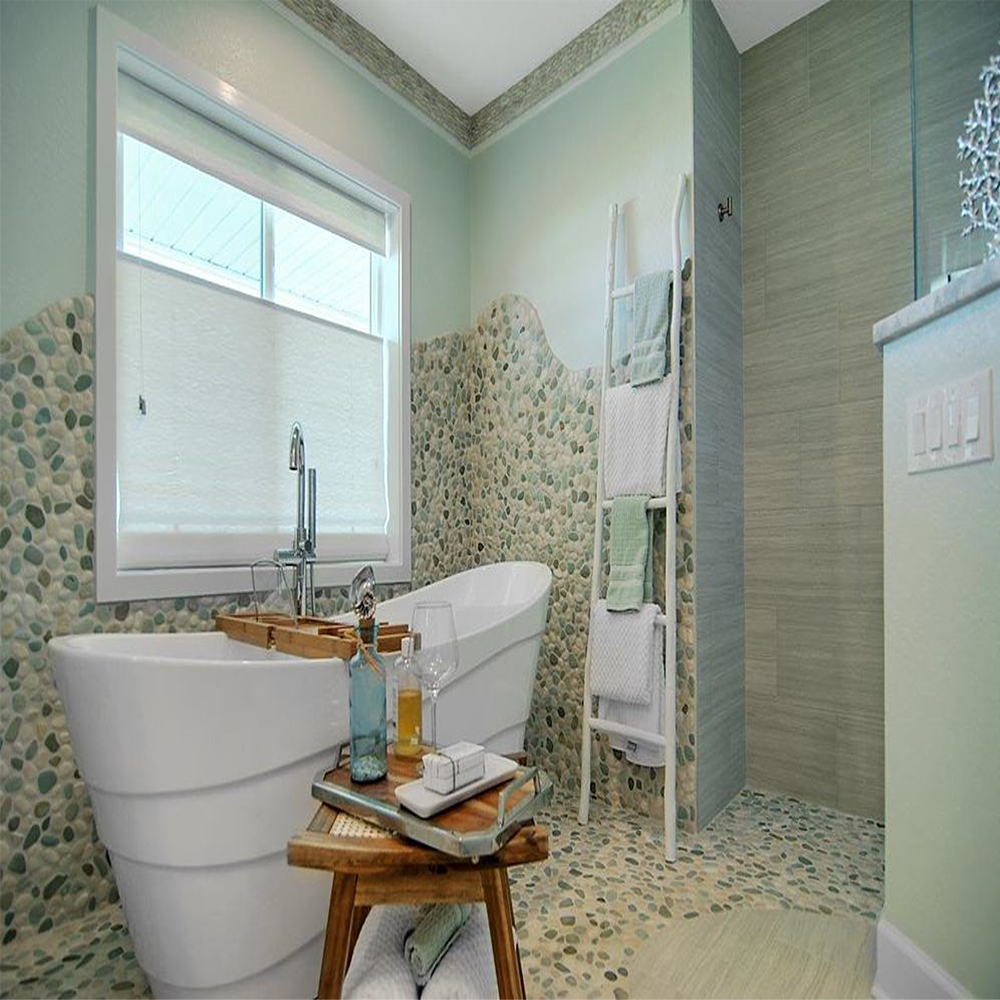 Green and White Pebble Tile Bathroom Floor & Wall Covering